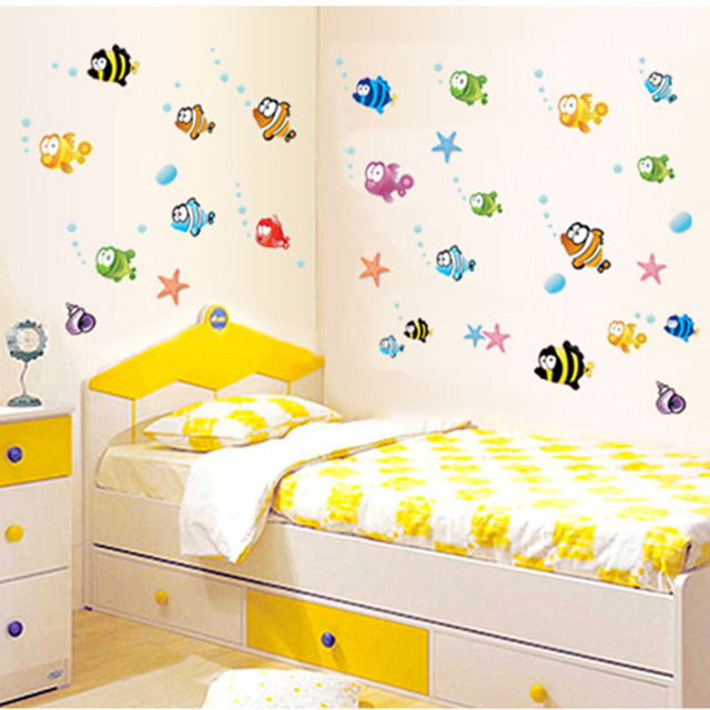 Lovely Tropical Cartoon Fish Sea Bubble Ocean World Removable Wall ...