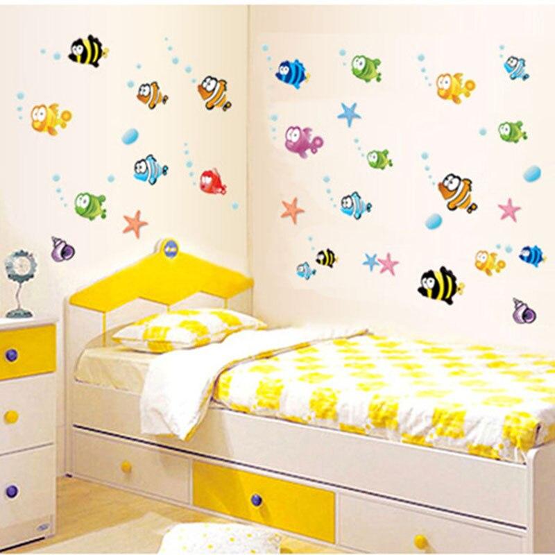lovely tropical cartoon fish sea bubble ocean world removable wall sticker washroom baby room decor