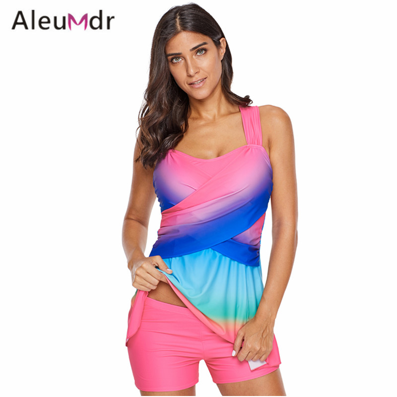 все цены на Aleumdr Swimming Suit For Women Tankini Blue Tie Dye Swim Dress With Shorts Plus Size Swimsuit LC410680 Traje De Bano Mujer