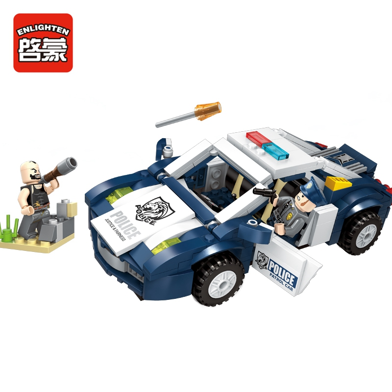 ENLIGHTEN 303pcs City Police Series Pursuit Car Detective Attack Building Blocks Toys Compatible With Legoed city series police car motorcycle building blocks policeman models toys for children boy gifts compatible with legoeinglys 26014