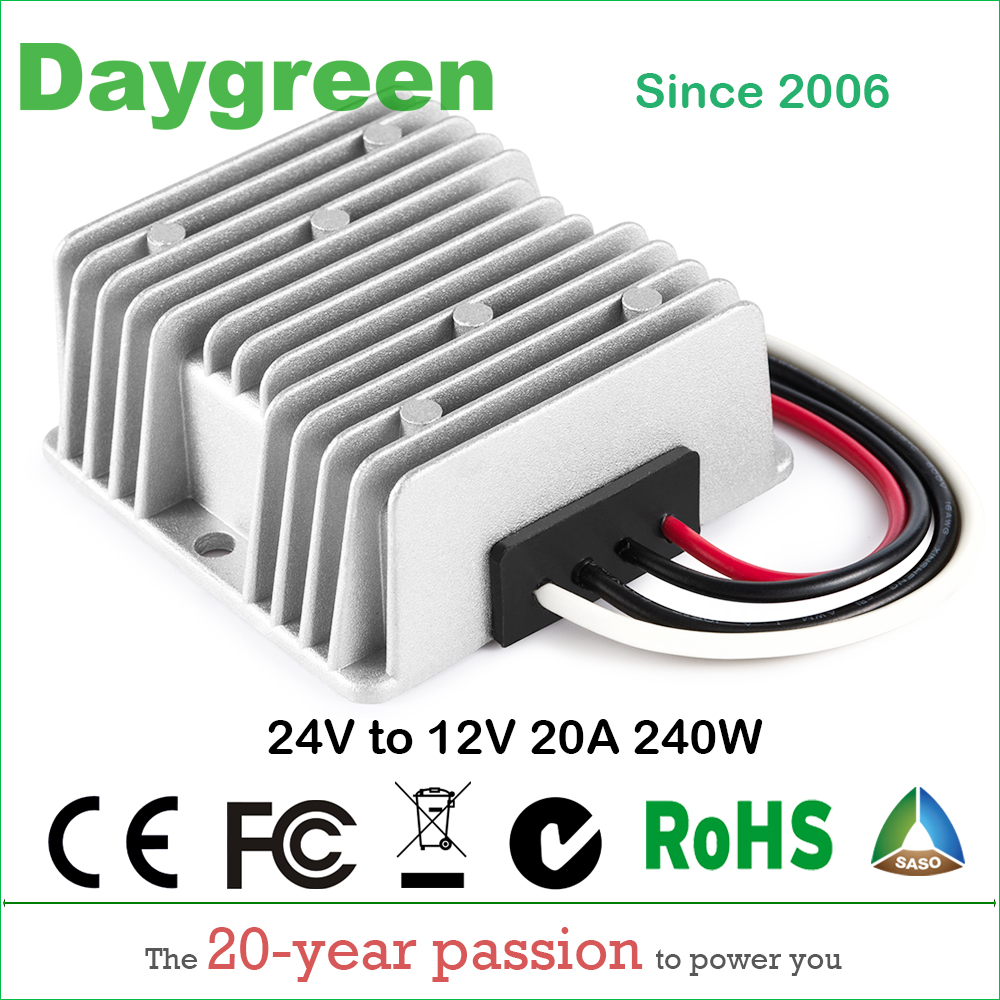 24V TO 12V 20A DC DC Converter Waterproof 240W B20-24-12 Daygreen CE Certificated 24VDC to 12VDC 20AMP Step Down Reducer 1pc step down converter waterproof car power supply module regulator dc dc 24v to 12v 20a 240w for electric motor