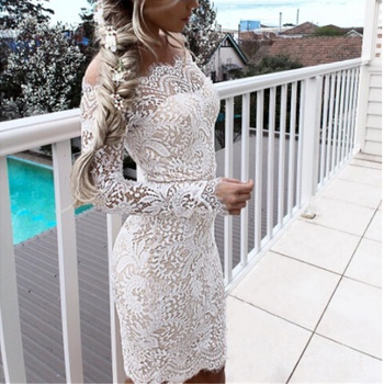 Lace Floral Elegant Long Sleeve Off Shoulder Patchwork Dress