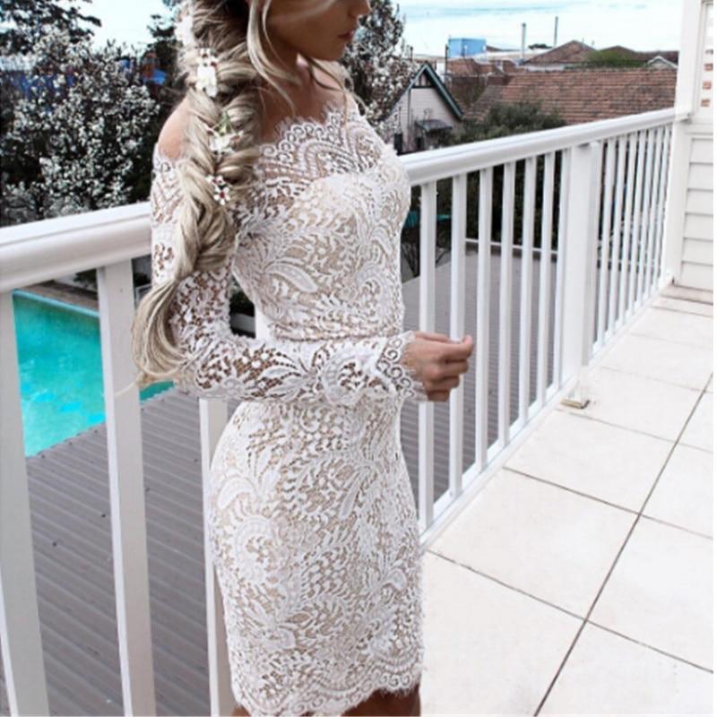 Vestido de encaje de verano mujeres encaje Floral elegante Vintage Retro Vestido manga larga de hombro Patchwork Bodycon partido 2018 Venta caliente