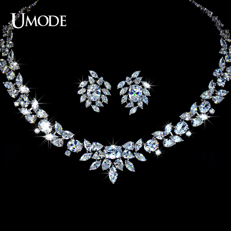 UMODE White Gold Color Poem of Spring Top quality Cubic Zirconia Bridal Jewelry Set US0010