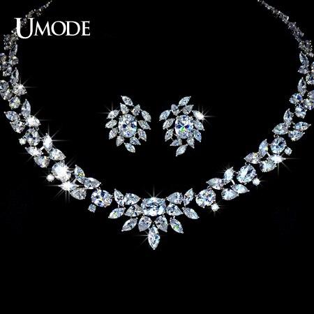 UMODE couleur or blanc poème de printemps Top qualité cubique zircone ensemble de bijoux de mariée US0010