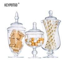 SWEETGO Transparent glass jar candy large food storage tank Canister Storage bottle wedding table decoration 3pcs/Set