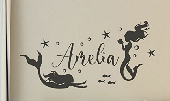 Girls Name Wall Art Sticker Mermaid Wall Decals With Bubble Starfish Beach  Sea Ocean Theme Baby