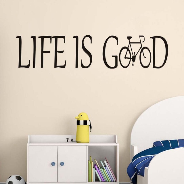 Life Is Good Vinyl Wall Decal Creative Bicycle Lettering Art Design ...