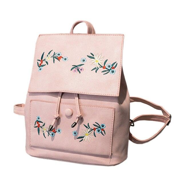 999ba6ef80d06 Koreański Floral Słodkie Dziewczyny Kobiety PU Skóra Plecak Szkolny Hafty  Kwiat ciąg Różowy Plecakowy Wysokiej Jakości