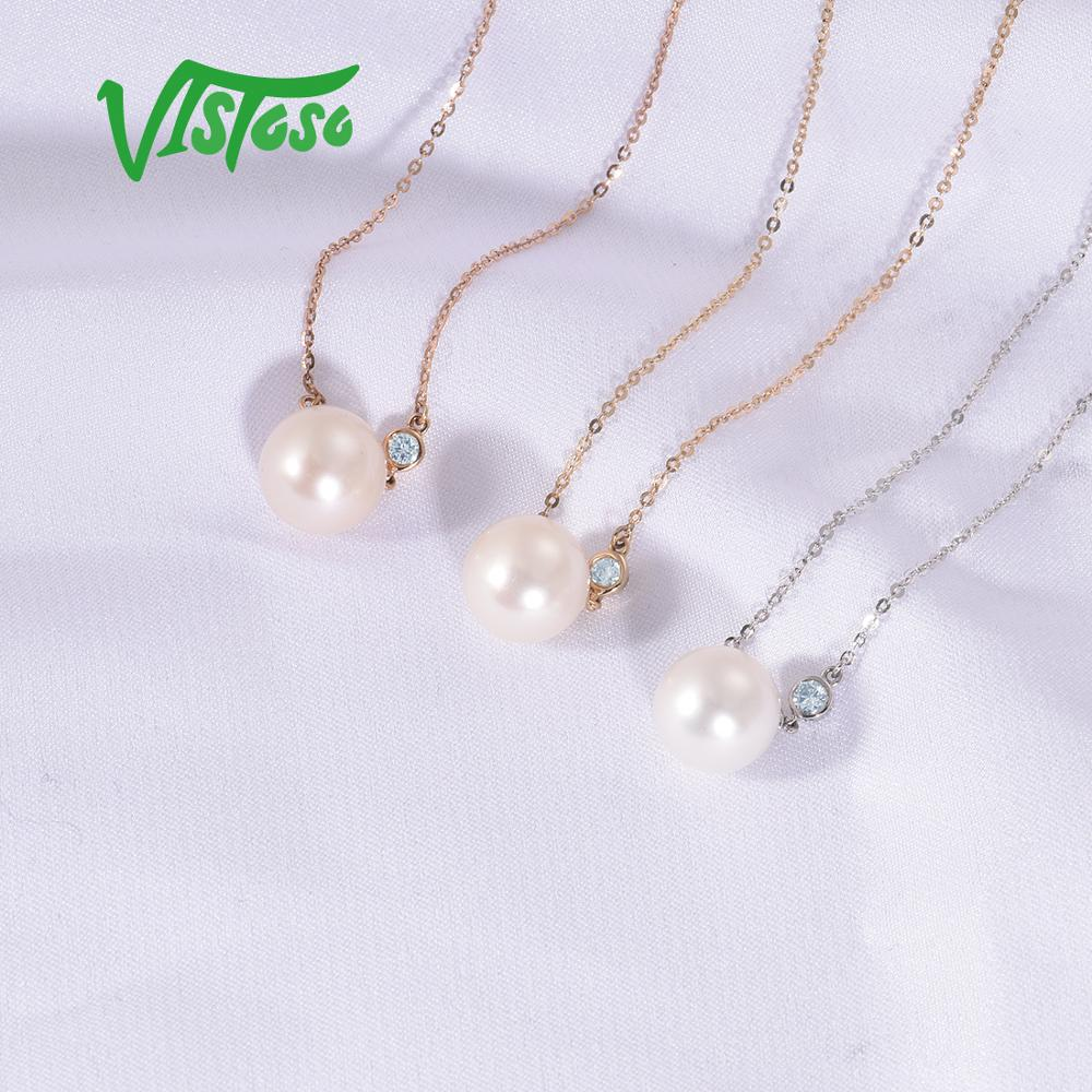 VISTOSO Gold Necklace For Women Genuine 14K 585 Rose/White/Yellow Gold Fresh Water White Pearl Diamond Necklace Fine Jewelry