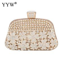 New Rhinestone Flower Shape Evening Party Clutch Bag With Metal Handle Handbags Female Fashion Wedding Clutches Purse Gold Bags