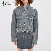 38bec92b0 Artsnie streetwear jeans cinza mulheres jaqueta primavera 2019 turn down  collar manga comprida pockets casacos boyfriend jeans j.