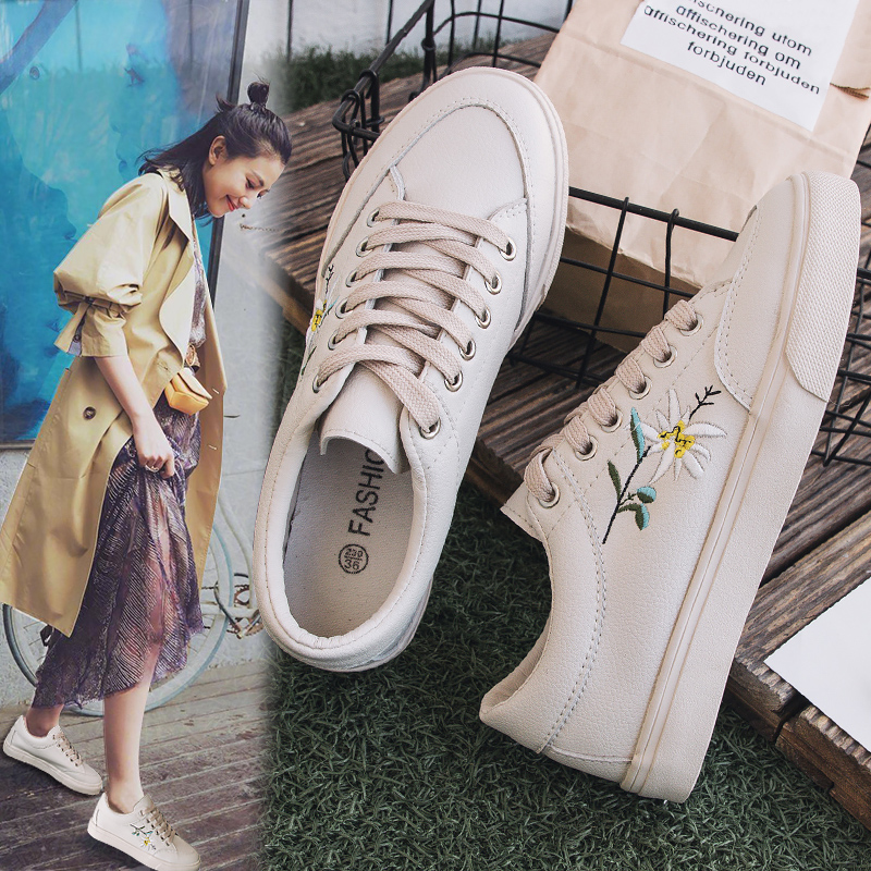 Women Shoes 2018 Spring Embroidery Flower Female Chic Casual Shoes Sneakers Leather Shoes White Beige Floral Vintage Style 35-40