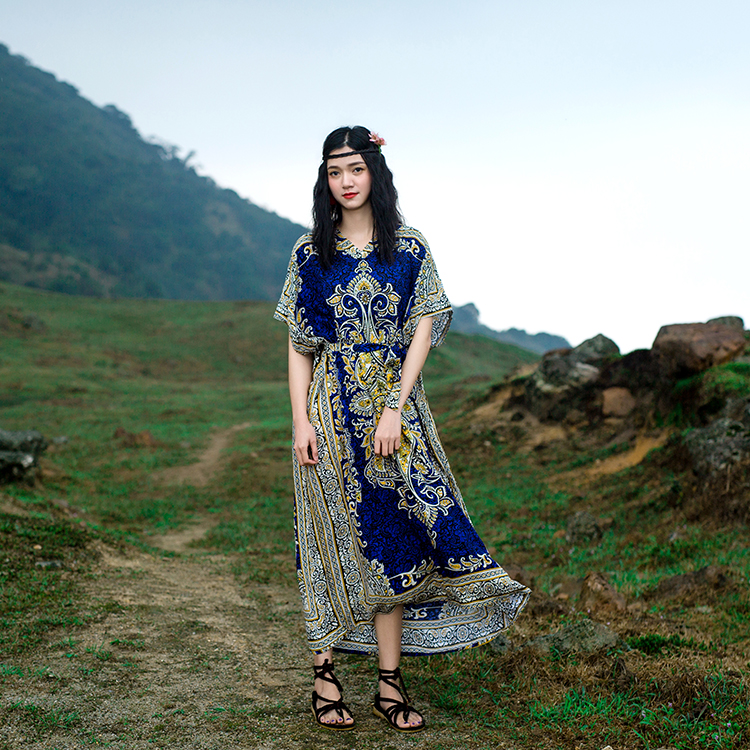 Thailand exotic style stamp Flower vacation long Dress loose large Retro art travel dress Boho Calico Floral Crochet print India vacation