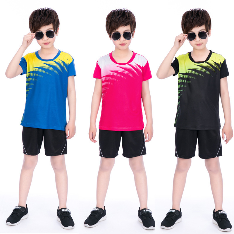 Új fiú tollaslabda sport viselet pólók öltönyök, poliészter lélegző asztali tenisz Jersey kültéri sport rövidnadrág ruhák
