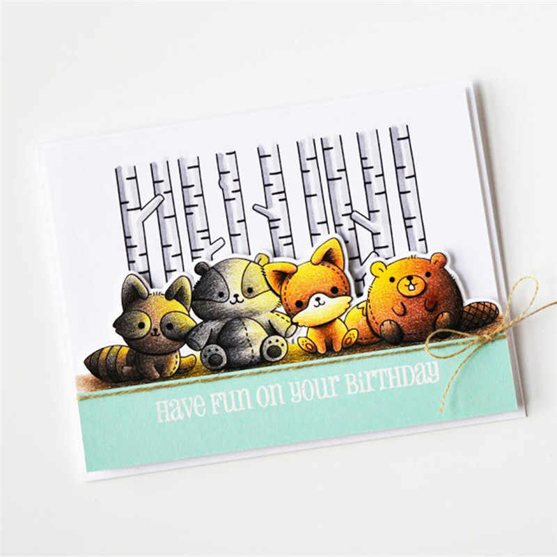 DiyArts Die Cutting Cute Animal Fox Metal with Clear Stamp DIY Decorative Embossing Scrapbooking Craft Card Stencil Template