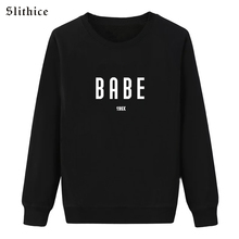 Slithice Women Autumn Sweatshirt Black Long Sleeve BABE 199X Letter Print Casual Loose bts female pullover hoodies