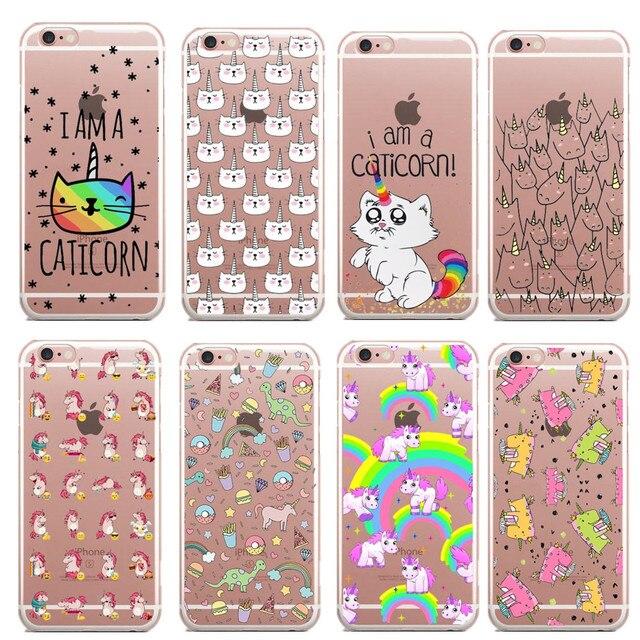 Casos de telefone I sou um Caticorn Gato Unicórnio plástico Rígido Claro fundas coque tampa do caso Para Apple iphone 7 plus 7 5S SE 6 6 S 6 mais caso