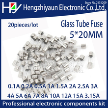 Hzy 20pcs/lot Glass Tube Fuse 5x20mm 0.1A 0.2A 0.5A 1A  2A 2.5A 3A 3.15A 4A 5A 6A 7A 8A 10A 12A 15A /250V Fast Quick Blow Fuses