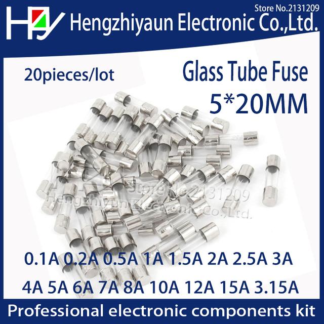 Hzy 20pcs/lot Glass Tube Fuse 5x20mm 0.1A 0.2A 0.5A 1A  2A 2.5A 3A 3.15A 4A 5A 6A 7A 8A 10A 12A 15A /250V Fast Quick Blow Fuses