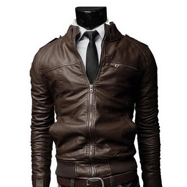 2570f8041ece Nuevo clásico pu chaqueta de cuero hombres motocicleta del collar del  soporte para hombre delgado cremallera