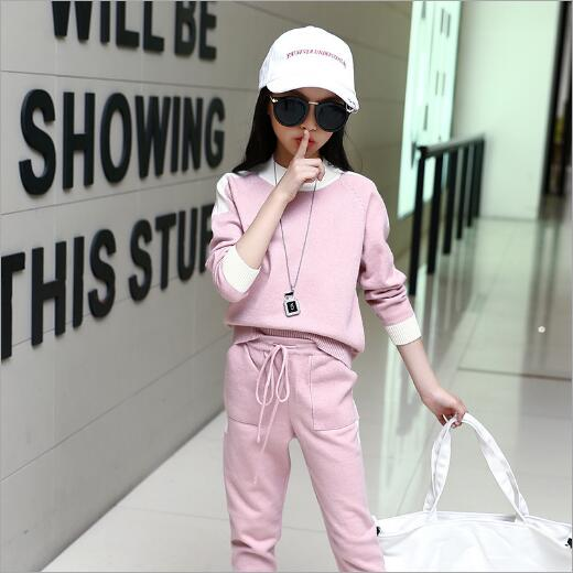 Girls Clothing Set 2018 Spring Autumn Kids Tracksuit Pullover Coats & pants 2 Pieces Casual Sports Suit Children Clothes Teenag spring children sports suit tracksuit for girls kids clothes sports suit boy children clothing set casual kids tracksuit set 596