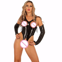 Lingerie Erotic Women Leather Bodysuit Lingerie Sexy Open Bra Crotchless Oversleeves Teddies Wetlook Vinyl Fetish Clubwear W7019