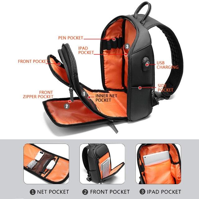 Multifunzione zaino di Spalla degli uomini Anti-furto Borsa con tracolla per Gli Uomini Porta USB Sacchetto del Messaggero Della Spalla Maschio Impermeabile Breve Viaggio 4