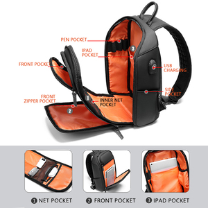 Image 4 - Многофункциональная мужская сумка через плечо с защитой от кражи, мессенджер на ремне с USB портом для мужчин, водонепроницаемый мешочек для коротких поездок