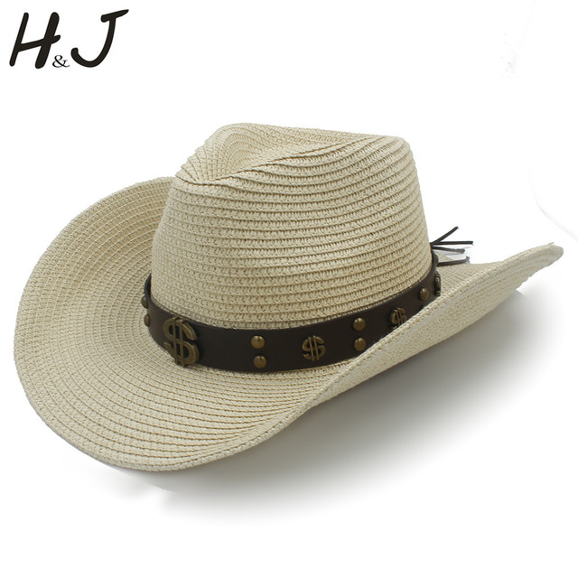 13efd85fda5 Women Men Straw Western Cowboy Hat With Roll Up Brim Money Belt Size 56-58CM