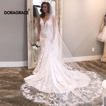 Doragrace vestido de noiva Vintage Illusion Back Lace Wedding Gowns Mermaid Dresses