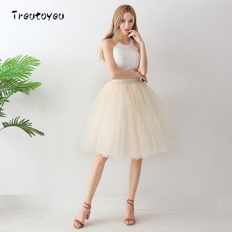 6 Layer Midi Tulle Skirt High Waist Champagne Tutu Skirts Womens Lolita Petticoat Elastic Belt Summer 2018 Faldas Saia Jupe
