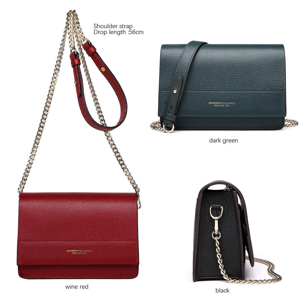 ... NEVEROUT Soft Genuine Leather Bag for Women Ladies Small Messenger Purse  Solid Flap Shoulder Sac Chain ... 4aec9cbb56575