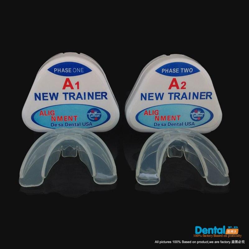 Aktualisiertes Versions-Set (A1 und A2) Zahnspangen-Orthodontie-Appliance-Trainer Ausrichtung Zahnspange MundstückeZähne gerade / Ausrichtung