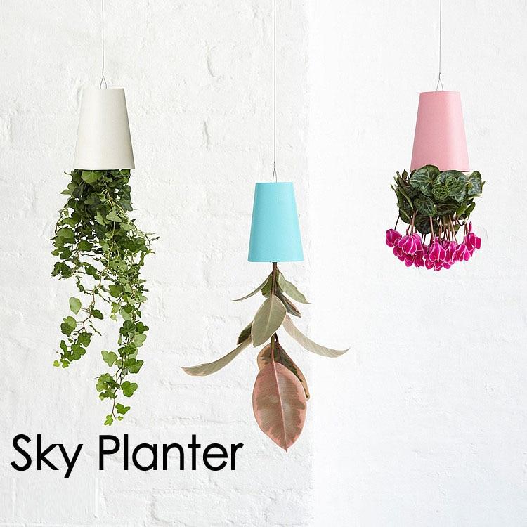 <font><b>Decorative</b></font> <font><b>Small</b></font> Hanging Plant Pot Plastic Upside Down Flower Pots Sky Planter for Home Indoor Decoration Green Plants Pot