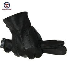Winter man deer skin leather gloves male warm soft men's Arm sleeve black men mittens imitate rabbit fur 70% wool lining-01