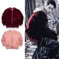 Джастин Бибер бомбардировщик куртка для мужчин Хип-хоп красное вино бархат МУЖЧИНЫ Куртка красивый стиль прохладно куртки мужчины молния НЕГАБАРИТНЫХ куртки