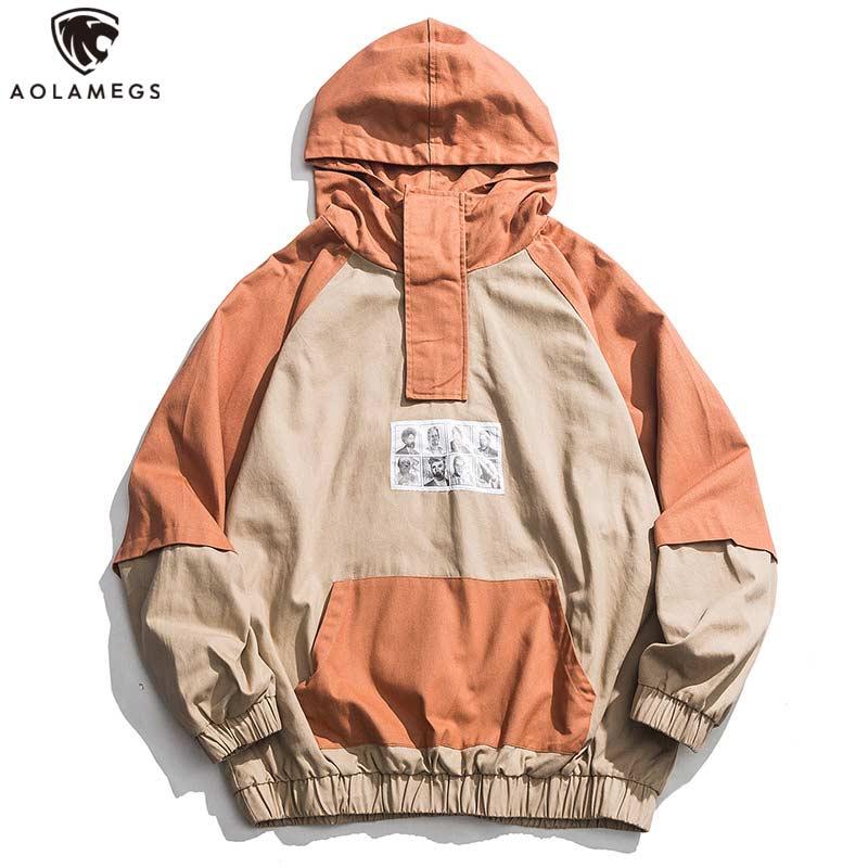 Aolamegs Hoodies Men Patchwork Color Hooded Pullover Sweatshirt Men High Street Harajuku Hip Hop Streetwear Spring Hoodie