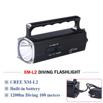 Portable Lighting 100m Underwater flashlight light diving torch xm l2 lamp battery charg lanterna de mergulho waterproof zaklamp - DISCOUNT ITEM  30% OFF All Category