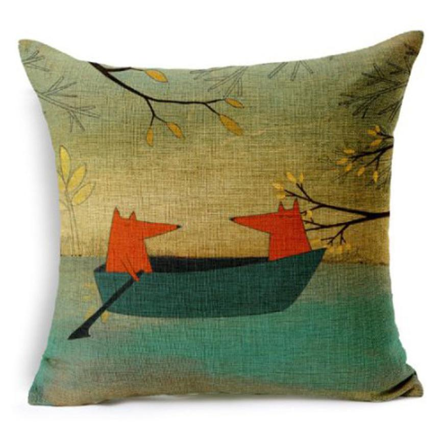 New Qualified Cushion Cover Red Fox ContemplatingDecorative Throw Pillow Cover Cushion Cover Pillow Levert Dropship dig675