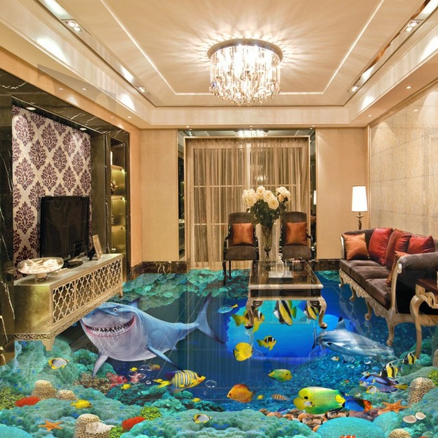 Free Shipping Aesthetic Underwater World Shark Flooring Wallpaper Living Room Kitchen Bedroom Self Adhesive Floor