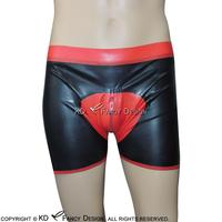 Black With Red Pouch Sexy Latex Boxer Shorts Underwear With Front Zipper Rubber Boy Shorts Bottoms Pants DK 0091
