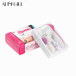 APINKGIRL 5 IN 1 Face Brush Cleansing Multifunction Electric Wash Spa Skin Care Massage Acne Face Brushes Facial Cleanser Tools