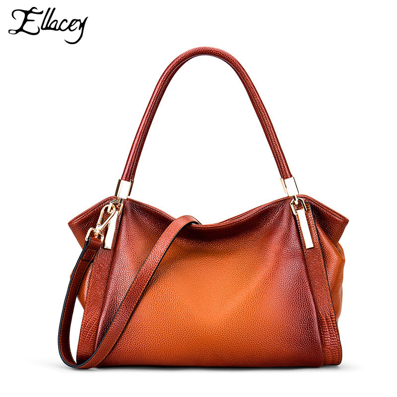 2018 Famous Brand Women Tote Bag Casual Tote Genuine Leather Crossbody Shoulder Bag Retro Cow Leather Women Handbag Female Purse mint retro stamp handbag shoulder bag tote purse leather envelop messenger may25 page 2