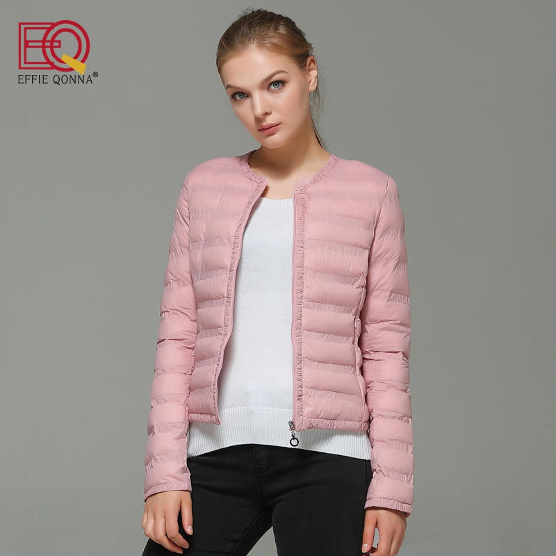 Effie Qonna Autumn Pink Long Sleeve Office Ladies Winter Coat Women