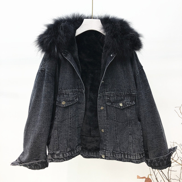 Winter Women Thick Flocking Denim Jacket Warm Natural Fur Collar Parka Brand Female Diamonds Overcoat Plus Size Long Sleeve Coat 2