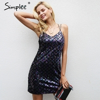 Simplee Sexy Backless Sequin Winter Dress Women Strap Elastic Party Dresses Female Christmas Club Autumn Mini