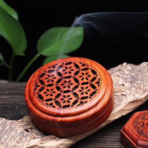 Image 3 - Vietnam Rosewood incense box sandalwood incense burner Hours Coil Censer With magnetic cover tea room Home Decoration supplier