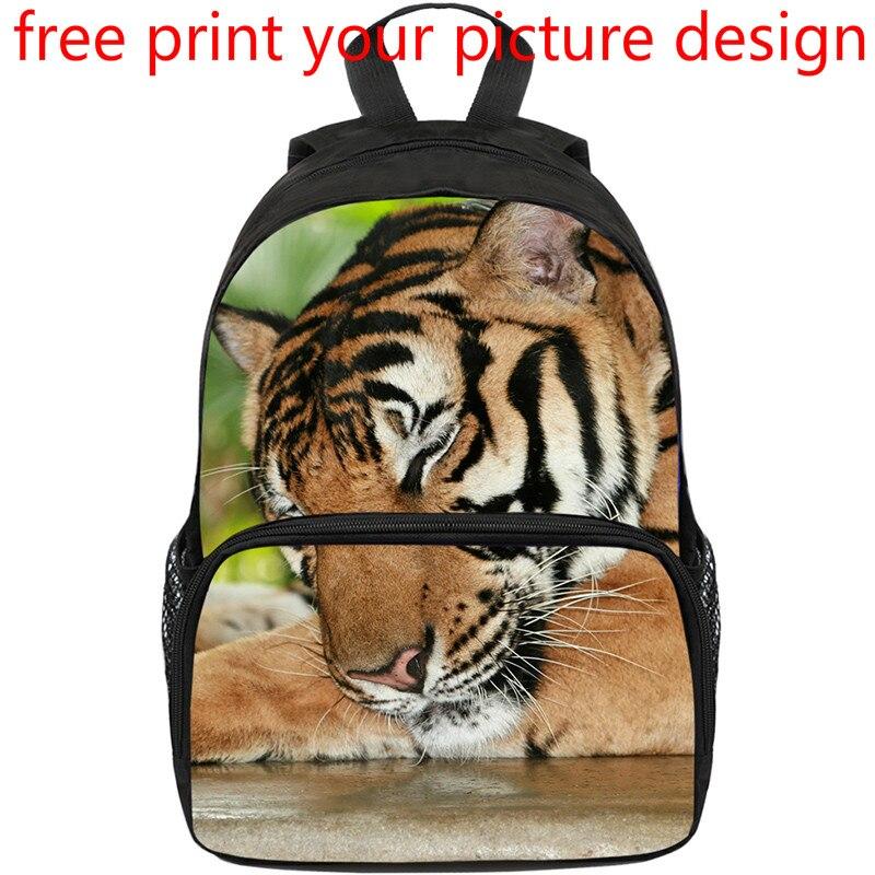 Conception créative classe de redressement maternelle tigre sacs enfants Animal Photo Photo sac à dos personnalisé bricolage impression Logo sac à dos