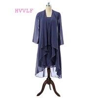 Azul marinho 2018 Mãe Da Noiva Vestidos Bainha Chiffon Lace Frisada Com Jaqueta Curta Mãe Vestidos Para O Casamento Do Noivo